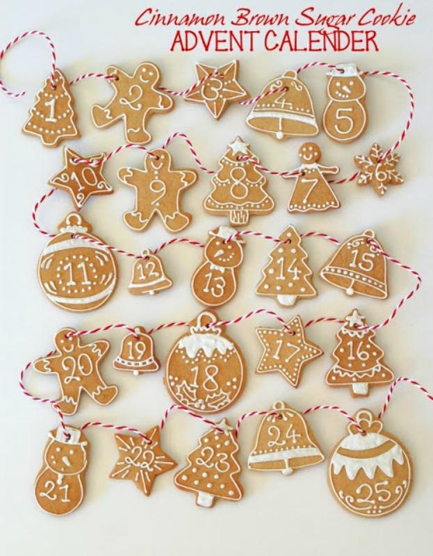 Cinnamon Brown Sugar Cookie Advent Calendar, DIY Christmas Countdown Advent Calendar Ideas