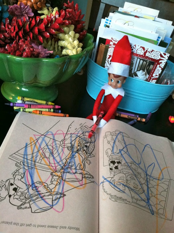 Coloring Books, Elf on the Shelf Ideas via Giggles Galore