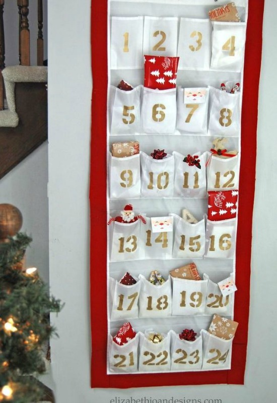 DIY Advent Calendar from a Shoe Organizer, DIY Christmas Countdown Advent Calendar Ideas