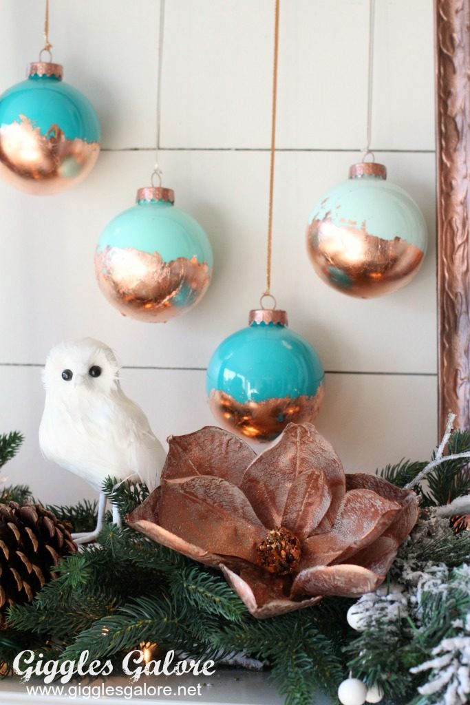 diy painted christmas ornaments with gold leaf
