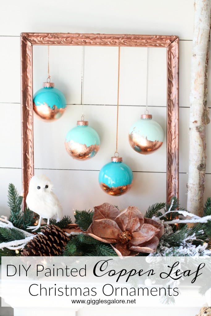 diy painted copper leaf christmas ornaments_giggles galore