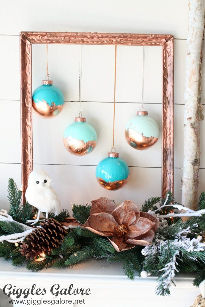 diy-painted-ornaments-with-copper-leaf-in-picture-frame