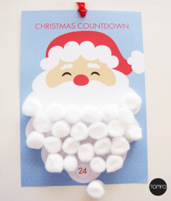 DIY Santa Christmas Countdown, DIY Christmas Countdown Advent Calendar Ideas