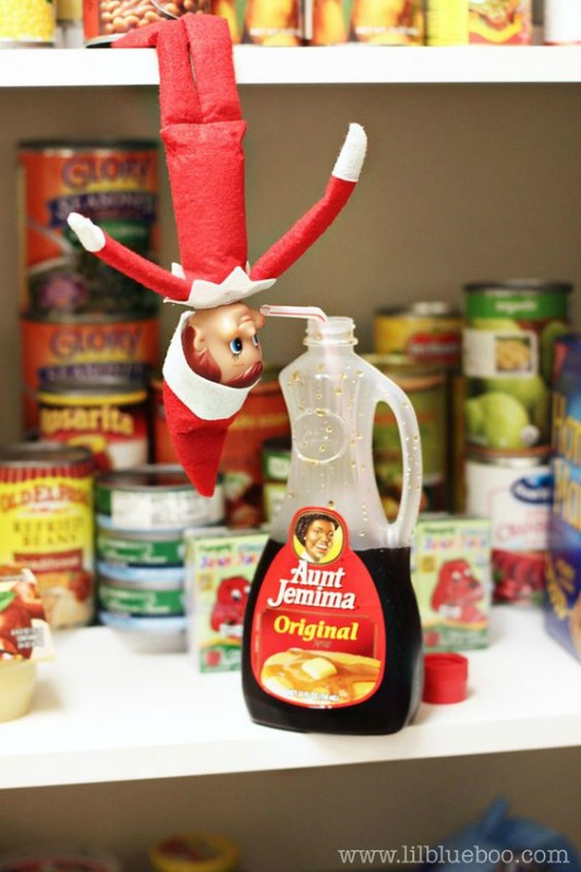 Drinking Syrup, Elf on the Shelf Ideas via Giggles Galore