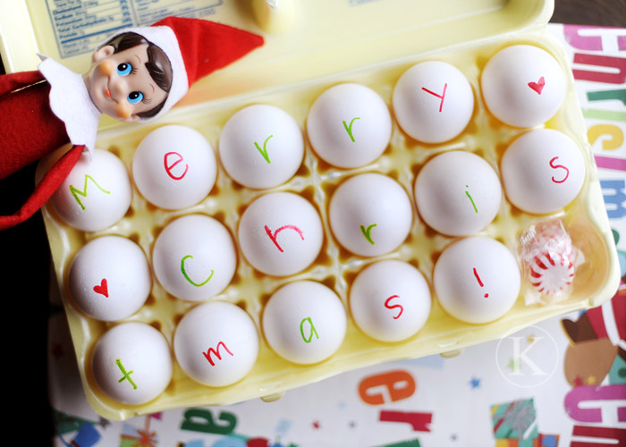 Egg Writing, Elf on the Shelf Ideas via Giggles Galore