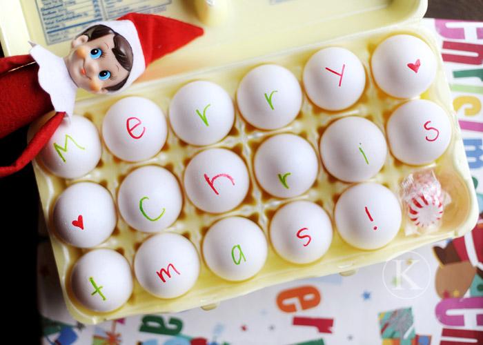 Egg Writing, Elf on the Shelf Ideas via Giggles Galore