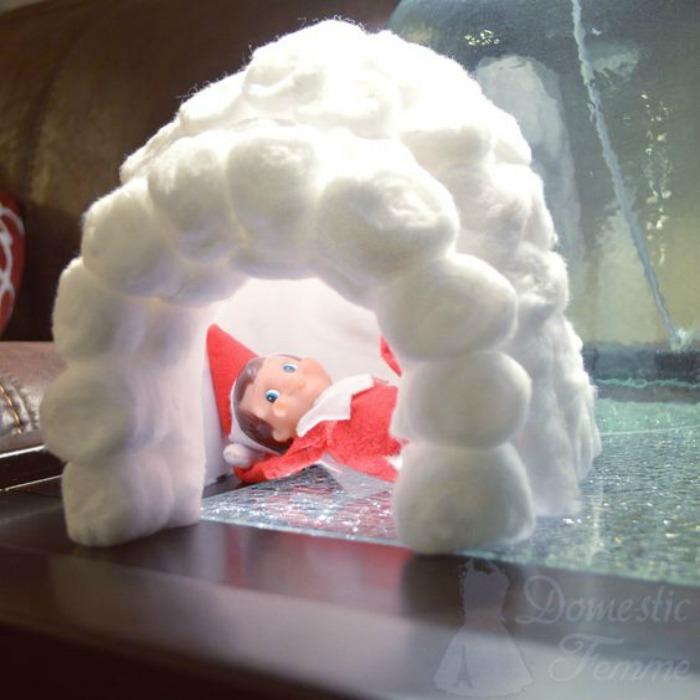 Elf Igloo, Elf on the Shelf Ideas via Giggles Galore