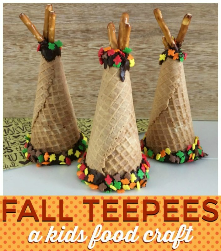 Fall Ice Cream Cone Teepees, Kids Thanksgiving Table Ideas via Giggles Galore