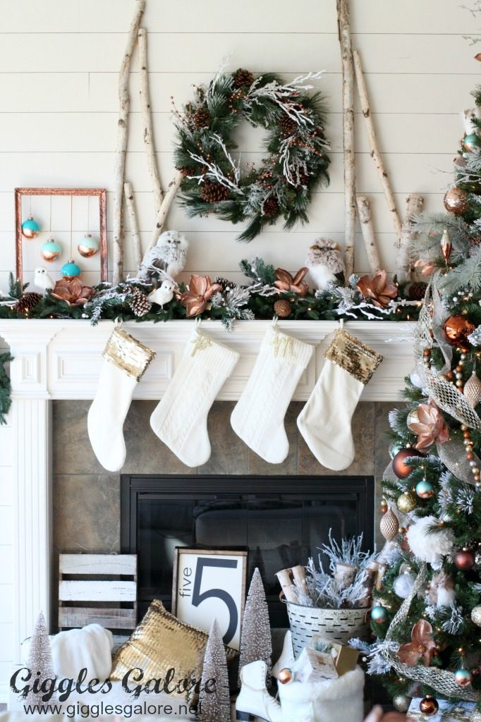 glam farmhouse christmas mantle - Farmhouse Christmas