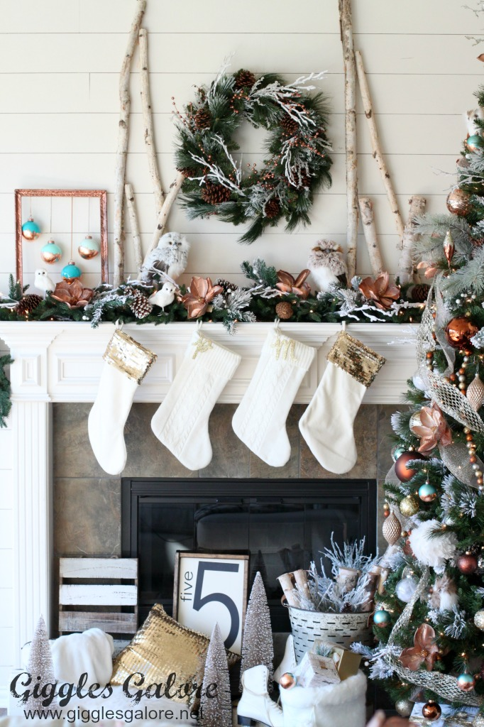 glam farmhouse christmas mantle