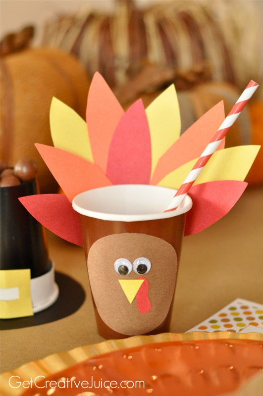 Kids' Turkey Cups, Kids Thanksgiving Table Ideas via Giggles Galore