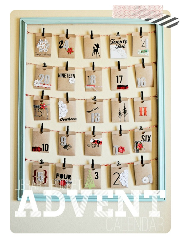 Library Pocket Advent Calendar, DIY Christmas Countdown Advent Calendar Ideas
