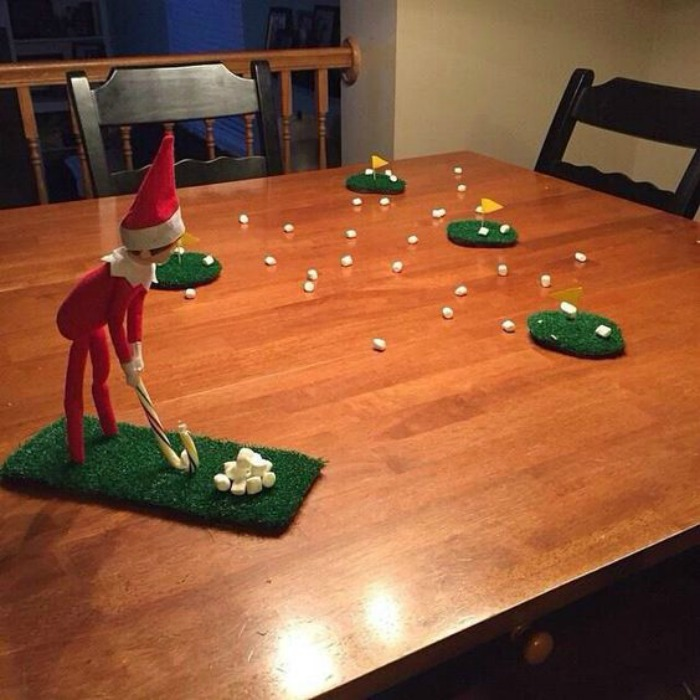 marshmallow Golf, Elf on the Shelf Ideas via Giggles Galore