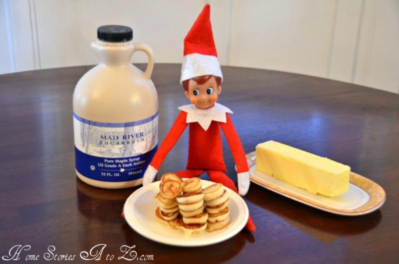 Mini Pancakes, Elf on the Shelf Ideas via Giggles Galore