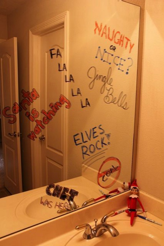 Mirror Writing, Elf on the Shelf Ideas via Giggles Galore