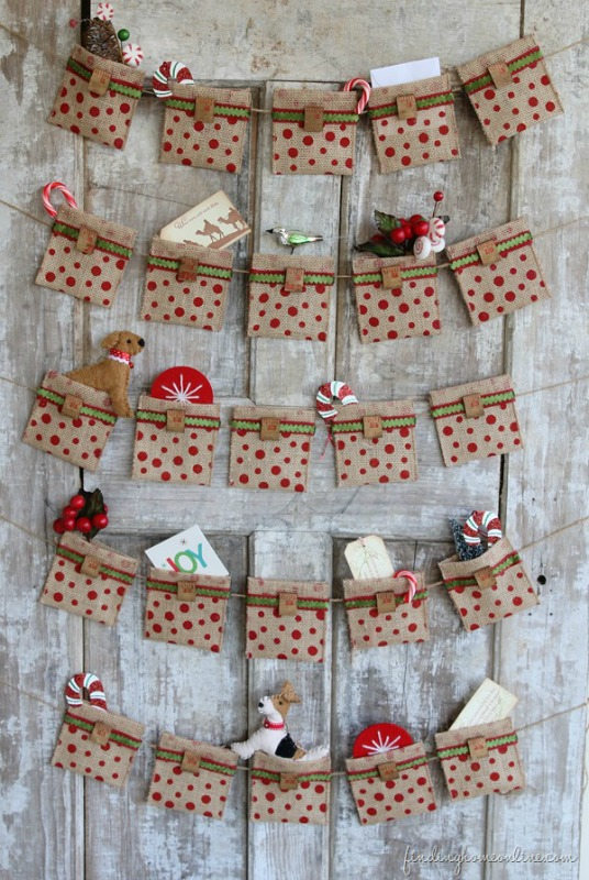 No Sew Burlap Advent Calendar, DIY Christmas Countdown Advent Calendar Ideas