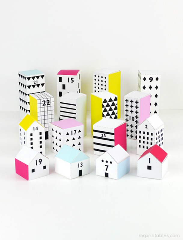 Paper City Advent Calendar,DIY Christmas Countdown Advent Calendar Ideas