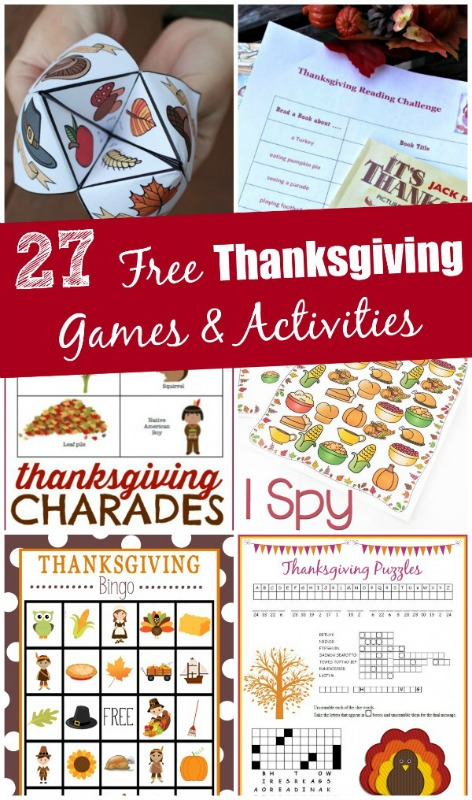 Thanksgiving Printable Games and Activities, Kids Thanksgiving Table Ideas via Giggles Galore