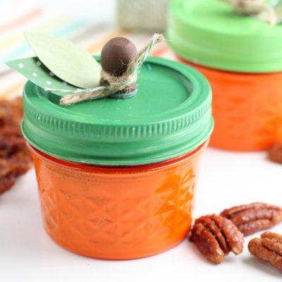 Pumpkin Spice Pecans in Pumpkin Jars