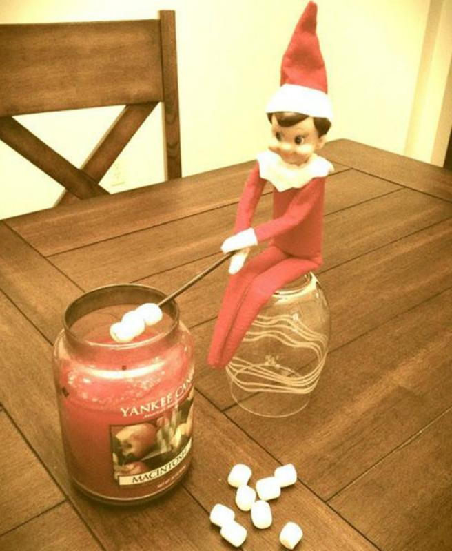 Roasting Marshmallows, Elf on the Shelf Ideas via Giggles Galore