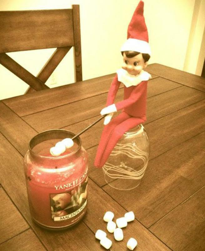 Roasting Marshmallows, Elf on the Shelf Ideas via Giggles Galore