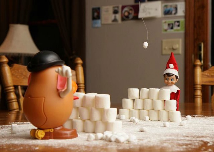 Snowball Fight, Elf on the Shelf Ideas via Giggles Galore