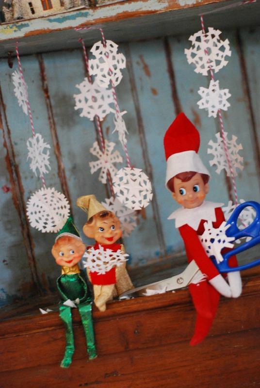 Snowflakes, Elf on the Shelf Ideas via Giggles Galore