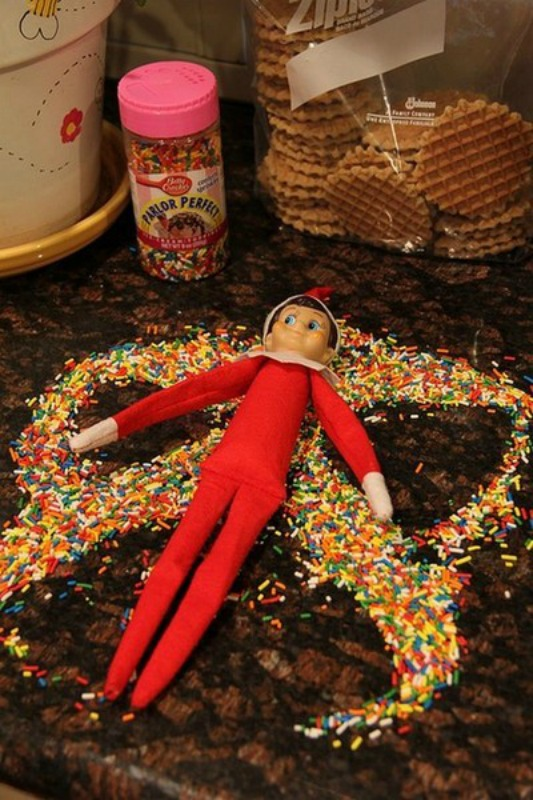 Sprinkle Snow Angels, Elf on the Shelf Ideas via Giggles Galore