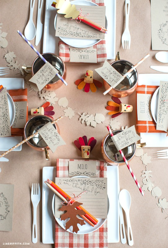 photograph relating to Thanksgiving Printable Decorations known as Small children Thanksgiving Desk Plans - Giggles Galore