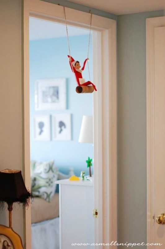 Toilet Paper Swing, Elf on the Shelf Ideas via Giggles Galore