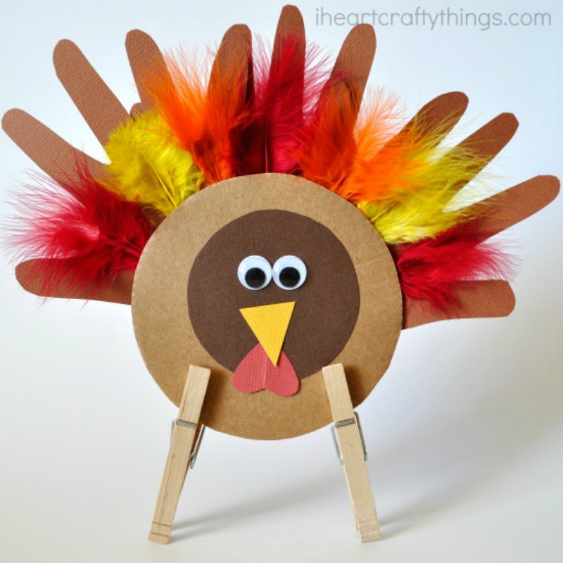 Turkey Handprint Craft, Kids Thanksgiving Table Ideas via Giggles Galore