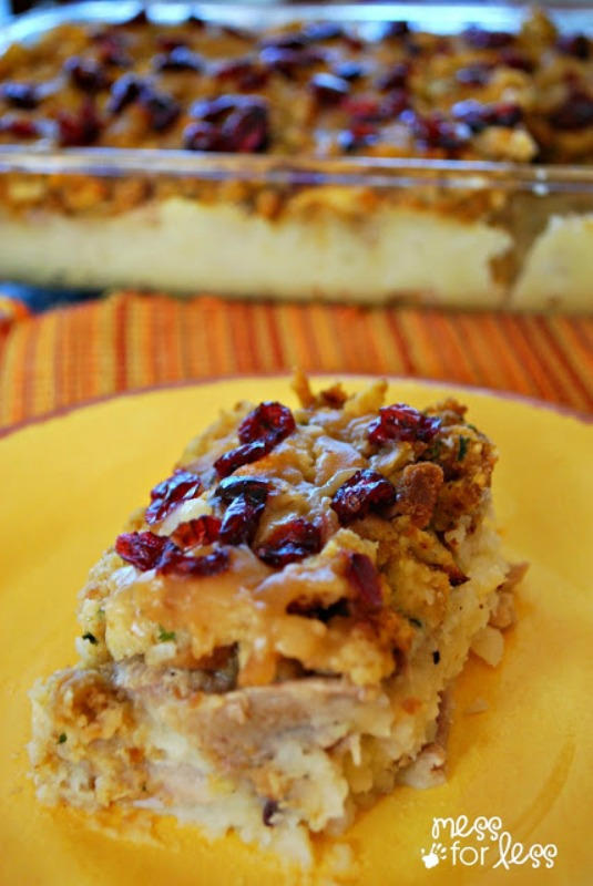 Turkey and Stuffing Casserole, Thanksgiving Leftovers Recipes via Giggles Galore