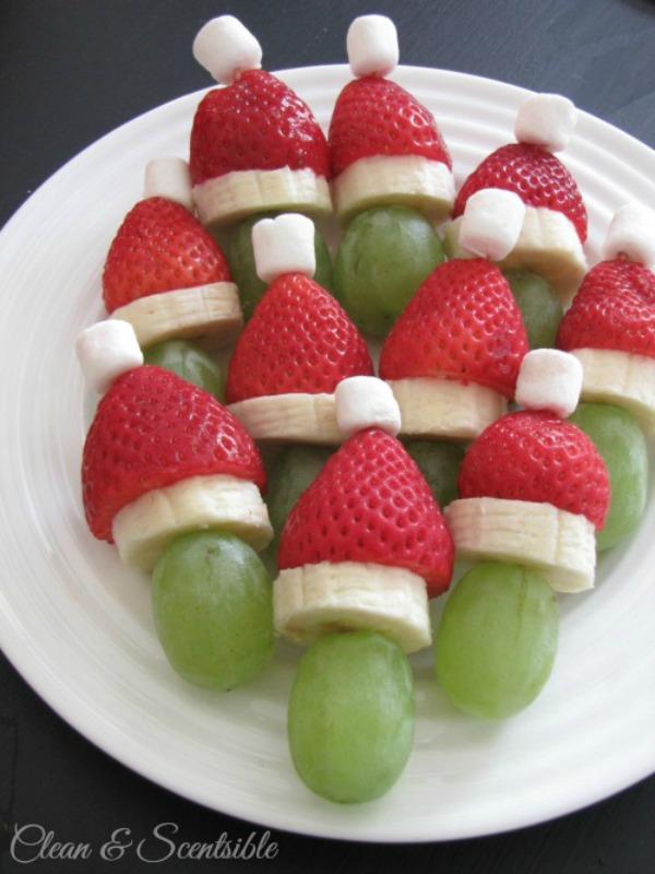 Grinch Fruit Skewers, Christmas Morning Breakfasts via Giggles Galore