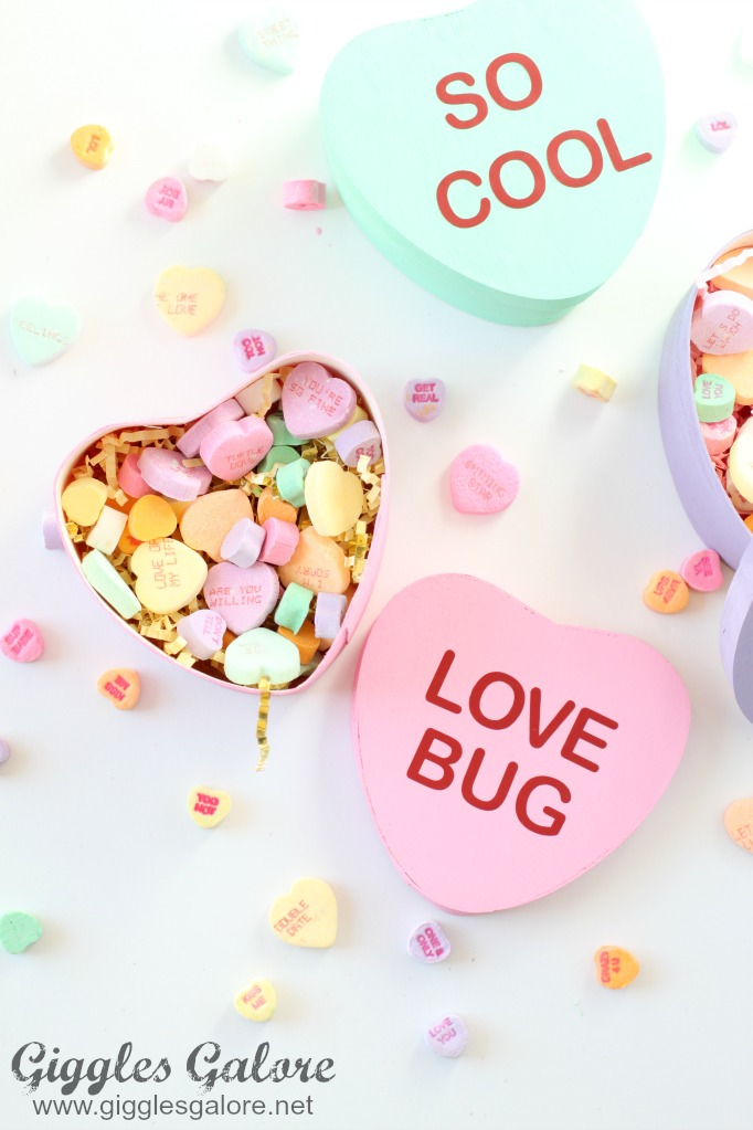Diy painted conversation heart boxes