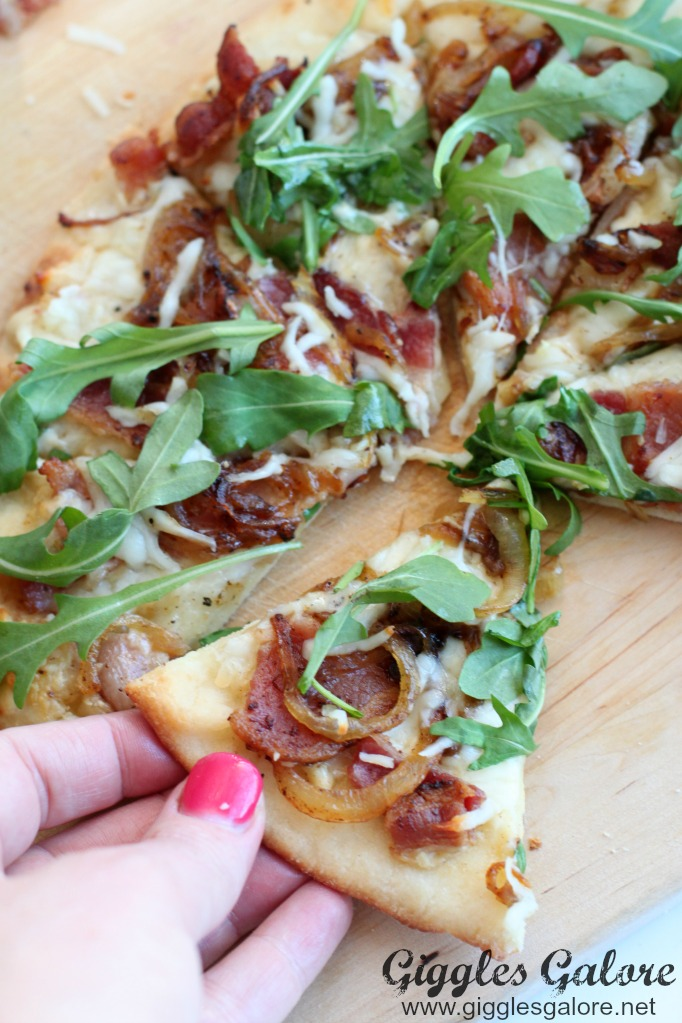 Spicy bacon and caramelized flatbread appetizer