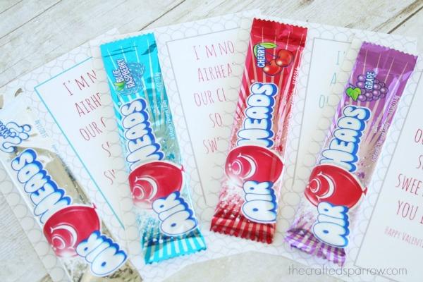 Airheads Valentines, 30+ Kids Valentine Printables via Giggles Galore
