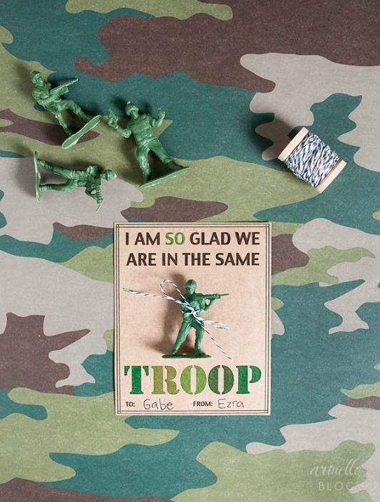 Army Valentines, 30+ Kids Valentine Printables via Giggles Galore
