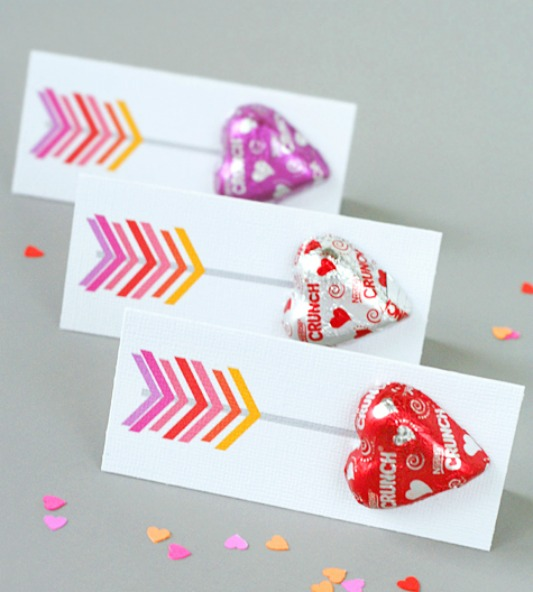 Arrow Heart Valentines, 30+ Kids Valentine Printables via Giggles Galore