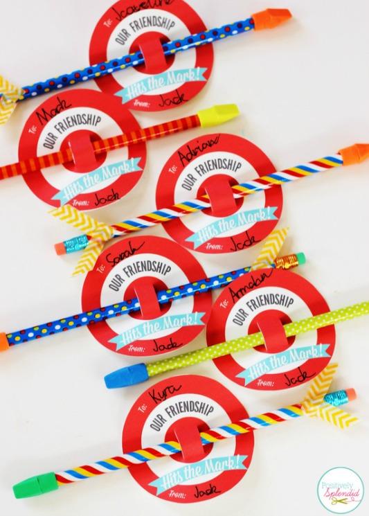 Bullseye Target Valentines, 30+ Kids Valentine Printables via Giggles Galore