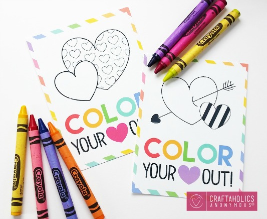 Color Your Heart Out, 30+ Kids Valentine Printables via Giggles Galore