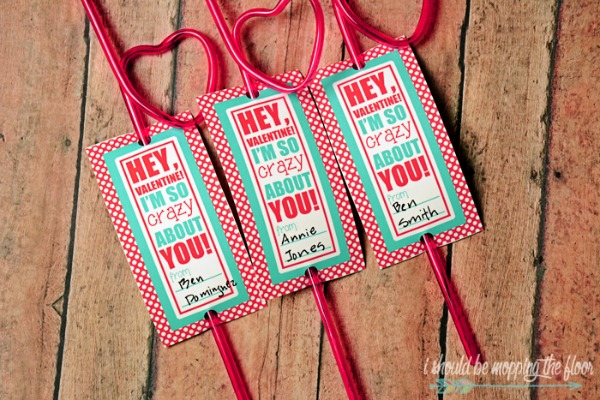 Crazy Straw Valentines, 30+ Kids Valentine Printables via Giggles Galore