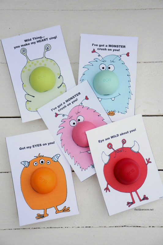 EOS Monster Valentines, 30+ Kids Valentine Printables via Giggles Galore