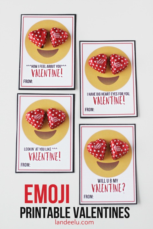 Emoji Valentines, 30+ Kids Valentine Printables via Giggles Galore