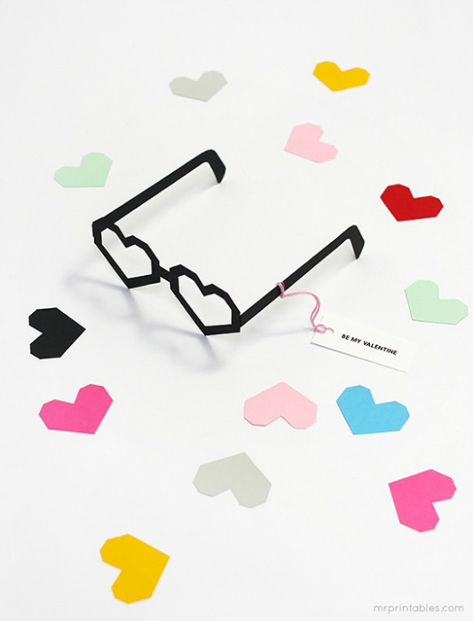 Heart Glasses Valentines, 30+ Kids Valentine Printables via Giggles Galore