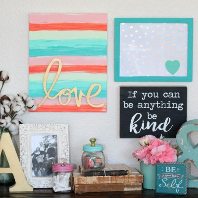 Hand Painted Love Word Art Canvas