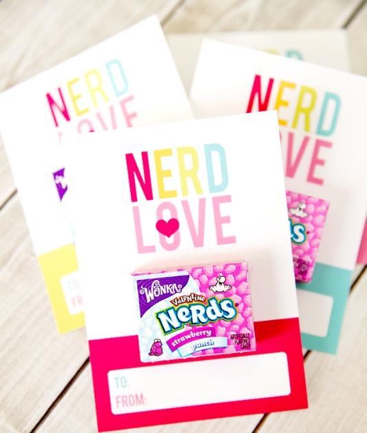 Nerdy Valentines, 30+ Kids Valentine Printables via Giggles Galore