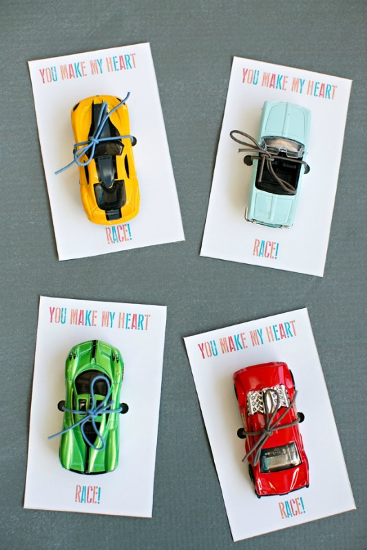 Race Car Valentines, 30+ Kids Valentine Printables via Giggles Galore