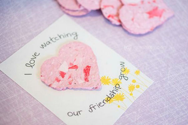 Recycled Seed Paper Heart Valentines, 30+ Kids Valentine Printables via Giggles Galore