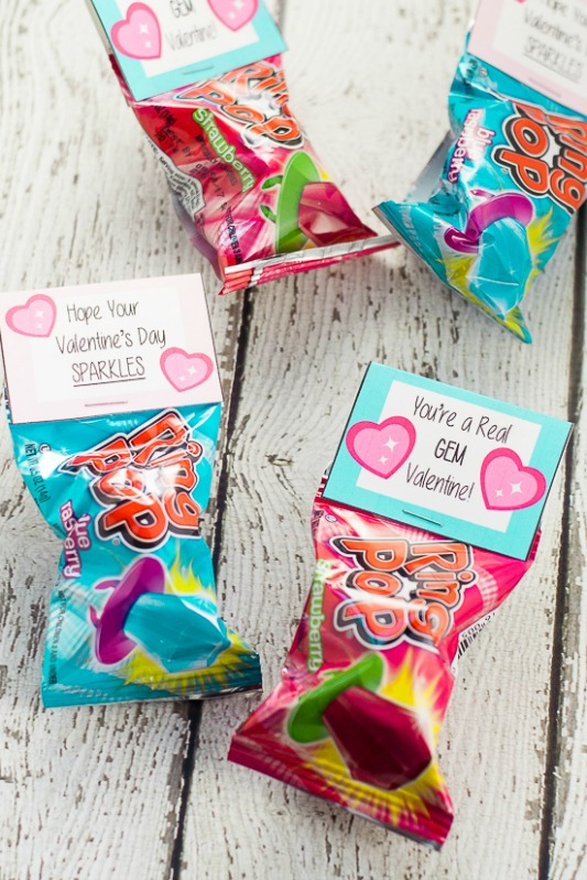 Ring Pop Valentines, 30+ Kids Valentine Printables via Giggles Galore