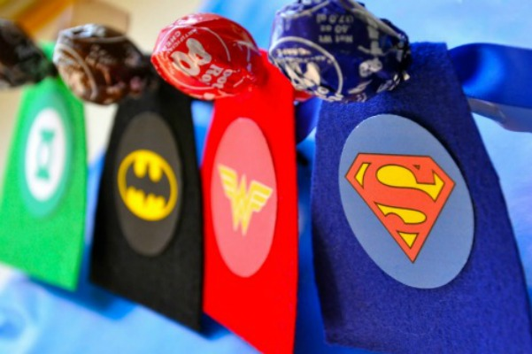 Super Hero Lollipop Valentines, 30+ Kids Valentine Printables via Giggles Galore